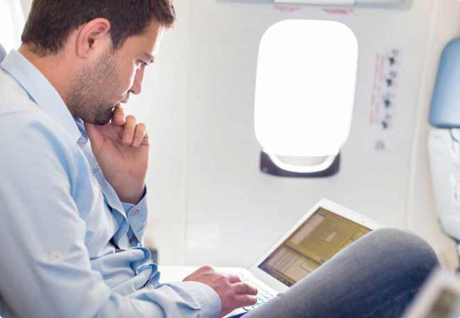Work undisturbed on your flight with privacy and comfort.